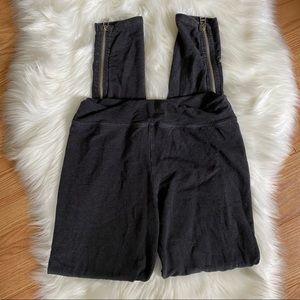 SUNDRY Ankle Zipper Comfort Leggings Soft Grey Med